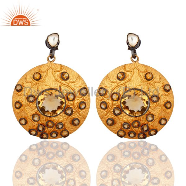 Yellow Stone 14 K Gold Plated Designer Leaf Pattern Wholesale Fashion Earring