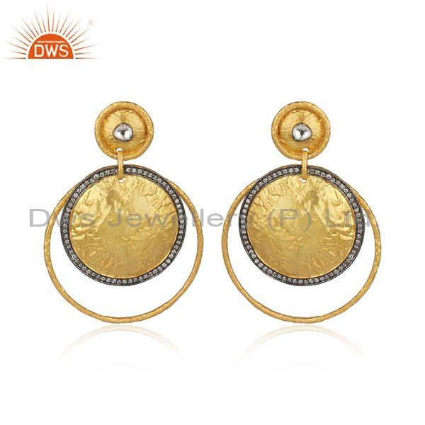 24k gold plated 925 sterling silver hand hammered earring with white zirconia
