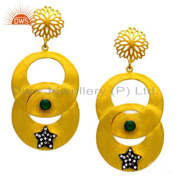 Green Hydro Dangle Wholesale Gold Plated Boutique Fashion Earring