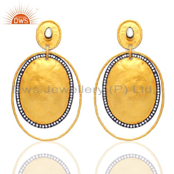 CZ Crystal Polki Wholesale Handcrafted Statement Dangle Fashion Earrings