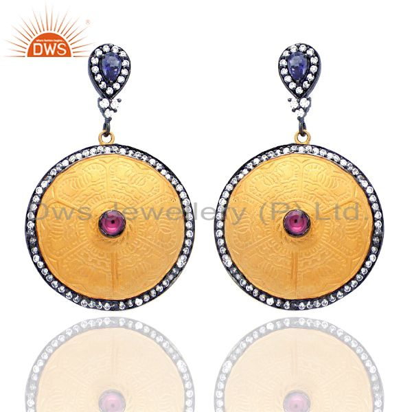Iolite And CZ Studded Statement Designer Dangle Fashion Wholesale Earrings