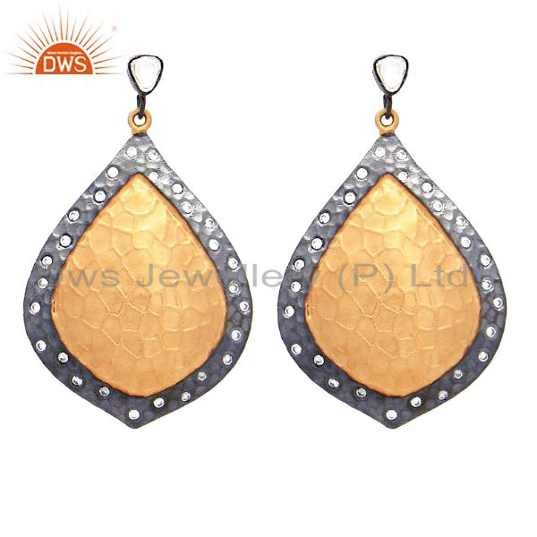 18K Gold Plated And Oxidized Sterling Silver CZ Polki Designer Dangle Earrings