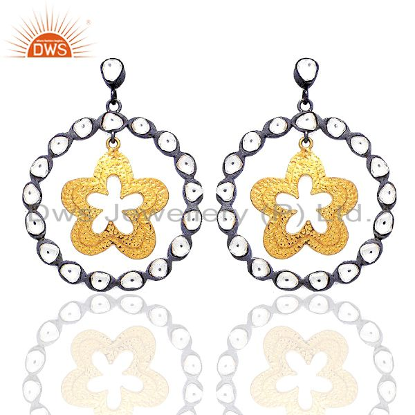 22K Gold Plated And Oxidized Sterling Silver CZ Crystal Star Dangle Earrings