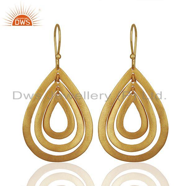 Handmade Gold Plated Brass Fashion Dangle Earrings Manufacturers