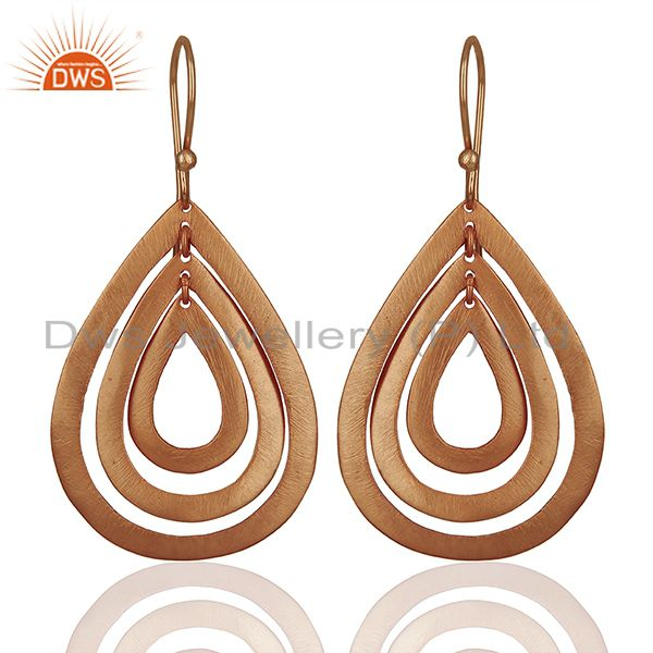 Handmade Rose Gold Plated Brass Fashion Dangle Earrings Manufacturers