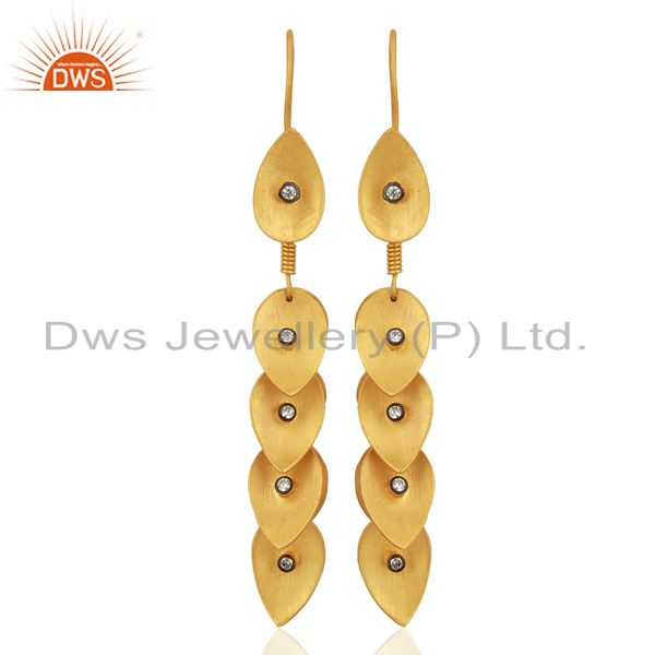 18K Yellow Gold Plated Brass Cubic Zirconia Leaf Chandelier Earrings