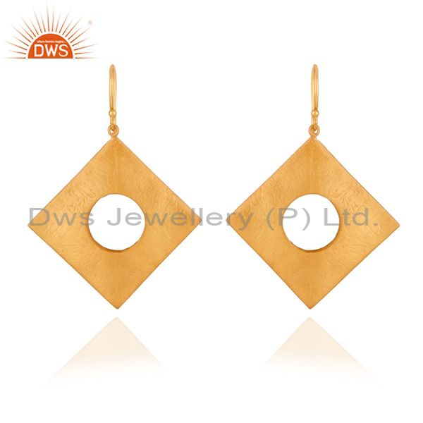 Solid 925 Sterling SIlver Textured Mette Finish With Gold Plated Hook Earrings