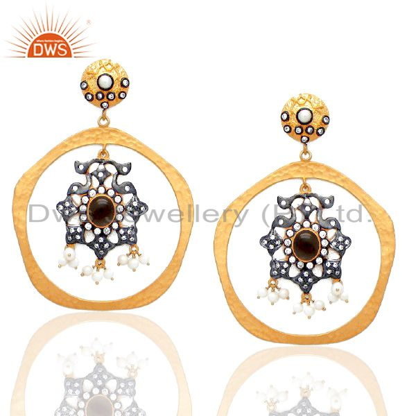 22K Gold Plated Sterling Silver Smoky Quartz And Pearl Dangle Earrings With CZ