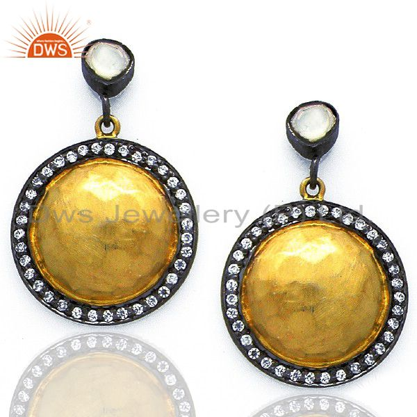 22K Yellow Gold Plated Sterling Silver Crystal CZ Polki Disc Dangle Earrings