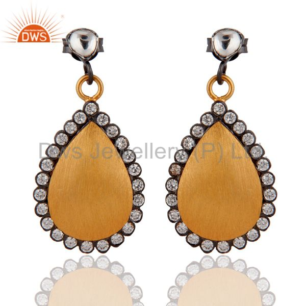 18K Yellow Gold Plated Sterling Silver Crystal Dangle Earring With White Zircon
