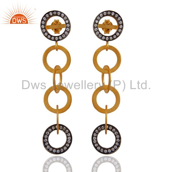 18k Yellow Gold Over Sterling SIlver Cubic Zirconia Six Circle Dangle Earrings