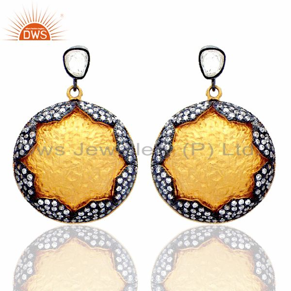 24K Yellow Gold Plated Sterling Silver Crystal CZ Polki Disc Dangle Earrings