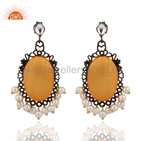 Handmade Sterling Silver Gold Plated Natural Pearl Bridal Chandelier Earrings
