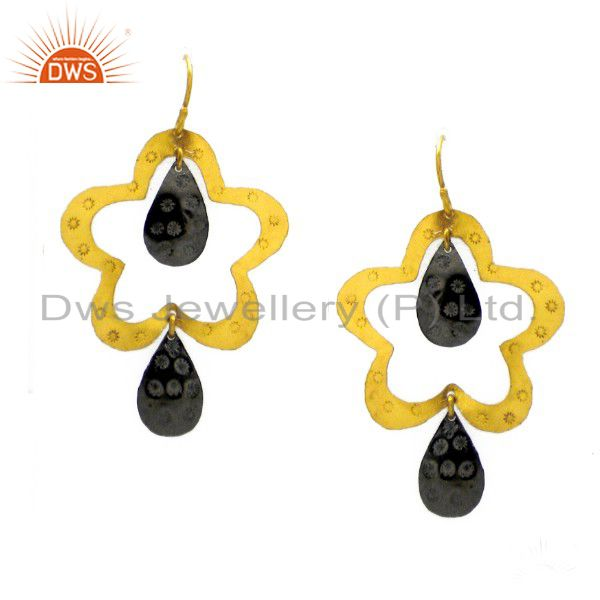 24K Yellow Gold Plated Sterling Silver With Oxidized Open Star Design Earrings