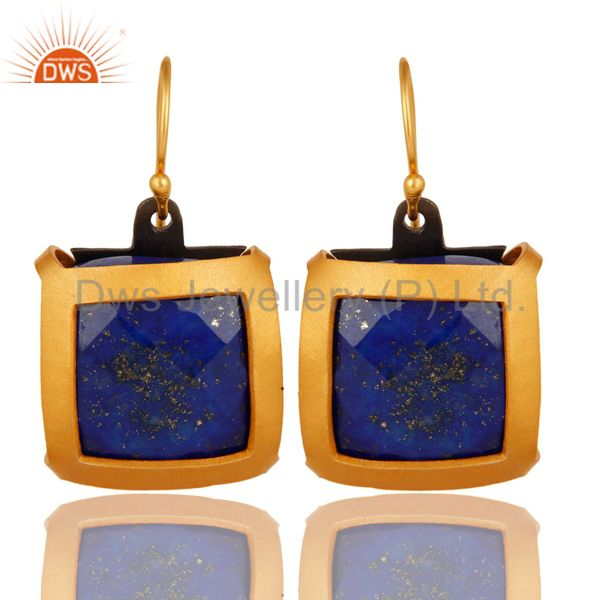 Faceted Lapis Lazuli Gemstone Sterling Silver Designer Earrings - Gold Plated