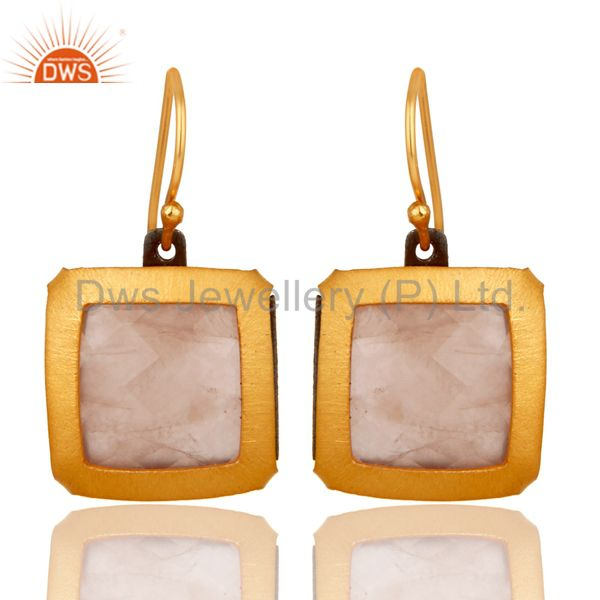 Designer Rose Quartz Gemstone Gold plated over 925 Sterling Silver Earrings