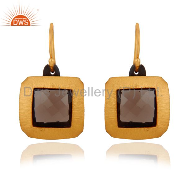 24K Gold Plated Over Sterling Silver Brushed Satin Finish Smoky Quartz Earrings