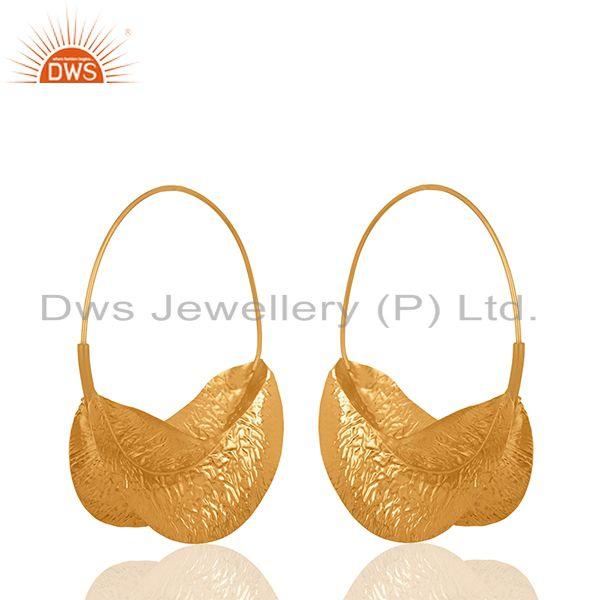Handmade Leaf Design Gold Plated Brass Fashion Earrings Manufacturer