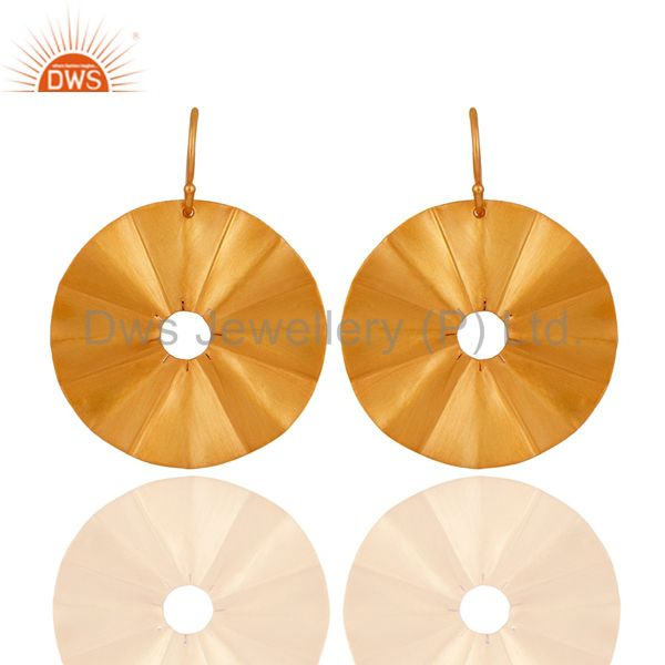 Hand Hammerad Disc Design 18k Gold Overlay Sterling Silver Women Dangle Earrings