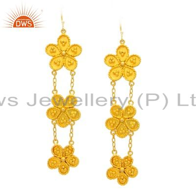 24K Yellow Gold Plated Sterling Silver Flower Designer Chain Dangle Earrings