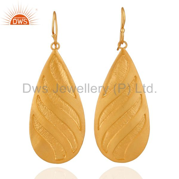 Handcrafted Sterling Silver Designer Earrings with Textured Finish Gold Plated