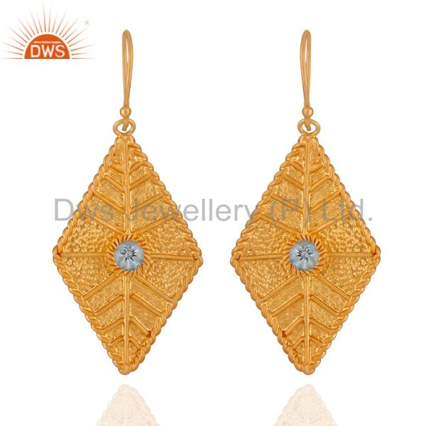 New Unique Blue Topaz Gemstone Gold Plated Twisted Wire Sterling Silver Earrings