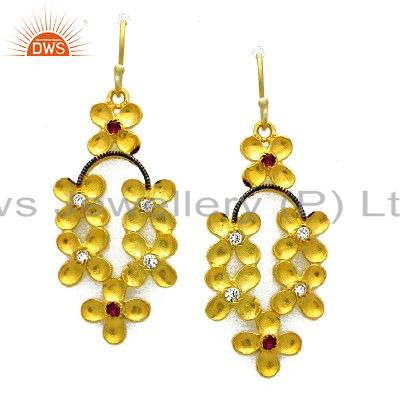 24K Yellow Gold Plated Brass Red Cubic Zirconia Flower Designer Dangle Earrings