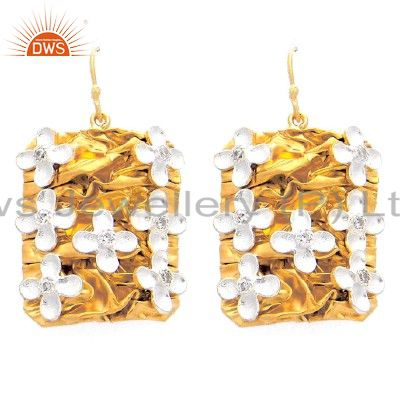22K Gold Plated Sterling Silver Cubic Zirconia Flower Designer Dangle Earrings