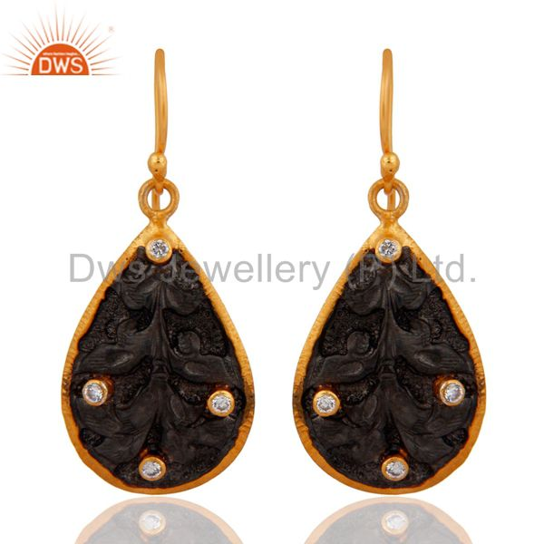 Hand Hammered  Oxidized Sterling Silver Gold Plated Cubic Zirconia Drop Earring