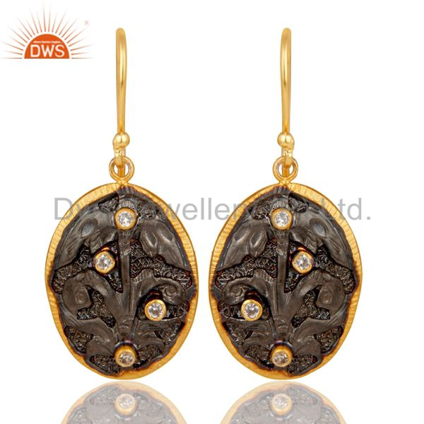 24K Yellow Gold Plated & Oxidized Brass Cubic Zirconia Designer Earrings