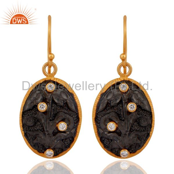 Black Rhodium Plated Sterling Silver Round Cut Cubic Zirconia Dangle Earrings