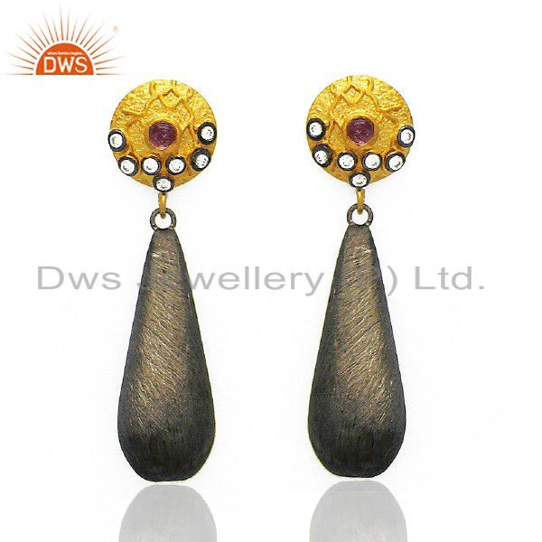 14K Yellow Gold Plated And Oxidized Sterling Silver White Zircon Dangle Earrings