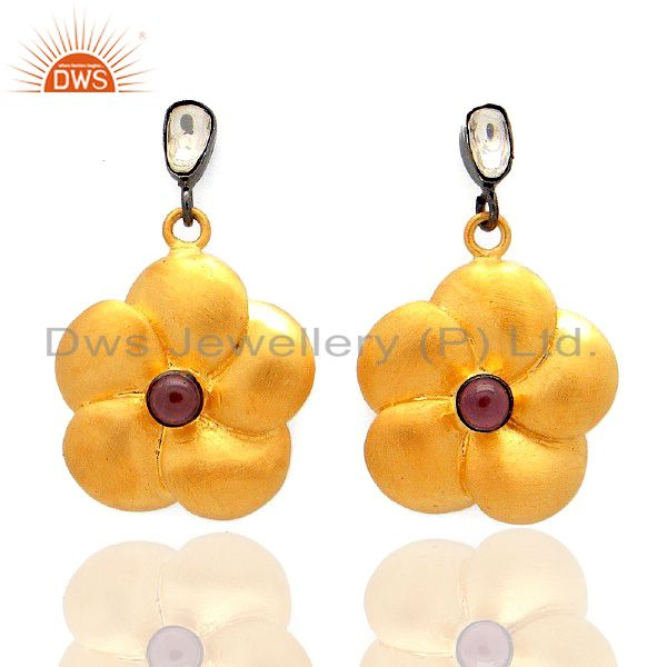 18K Yellow Gold Plated Silver 925 Pink Tourmaline And CZ Polki Dangle Earrings