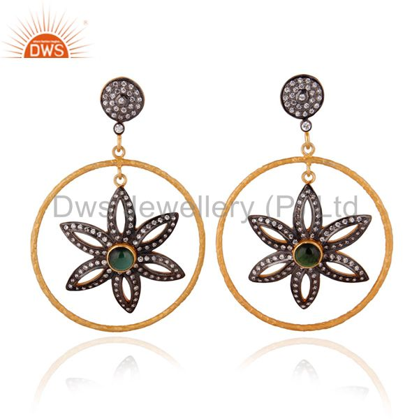 Flower Design Tourmaline 925 Silver Zircon Dangle Earrings With 24k Gold Plated