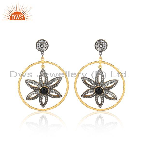 CZ And Black Onyx Gold, Black On Silver Floral Hoop Earrings