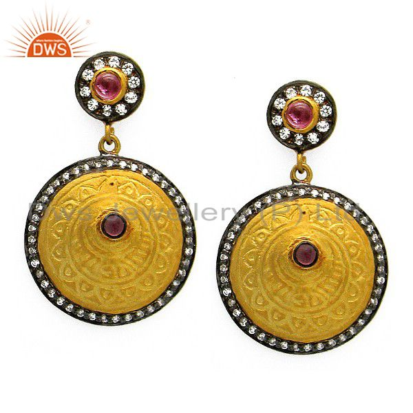 18K Yellow Gold Plated Sterling Silver Disc Dangle Earrings With CZ & Tourmaline