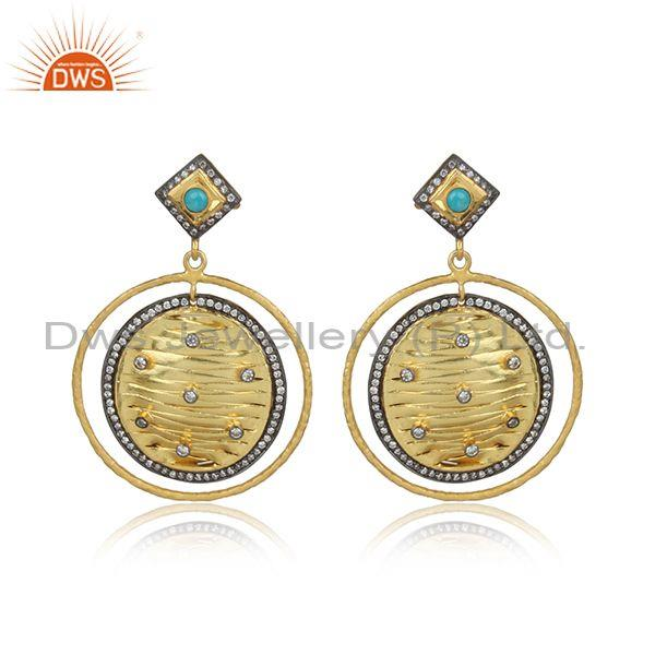 Cz and arizona turquoise gold on silver round dangle earring