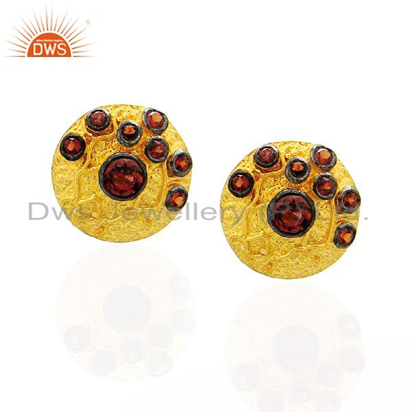 22K Yellow Gold Plated Sterling Silver Garnet Gemstone Disc Design Stud Earrings