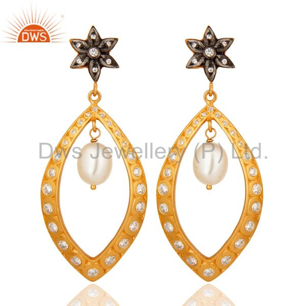 925 Sterling Silver Pearl And White Zircon Earrings With Yellow Gold Plated