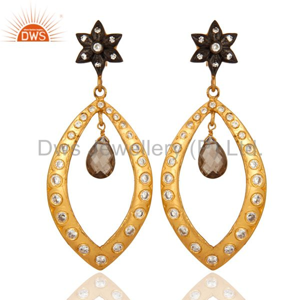 Gold Plated 925 Sterling Silver Smoky Quartz Gemstone Drop Party Wear Earrings