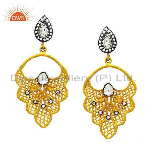 24K Yellow Gold Plated Sterling Silver Crystal CZ Polki Designer Dangle Earrings