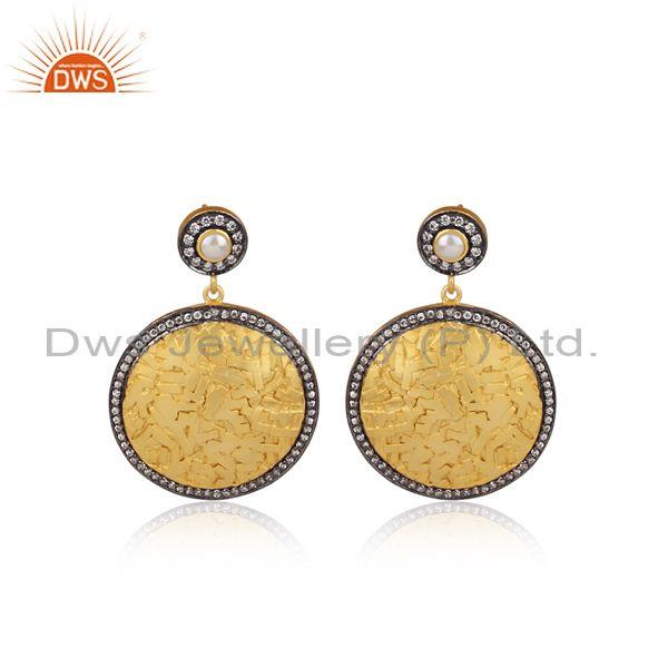 CZ Set Gold And Black On 925 Silver Gilt Round Drop Earrings