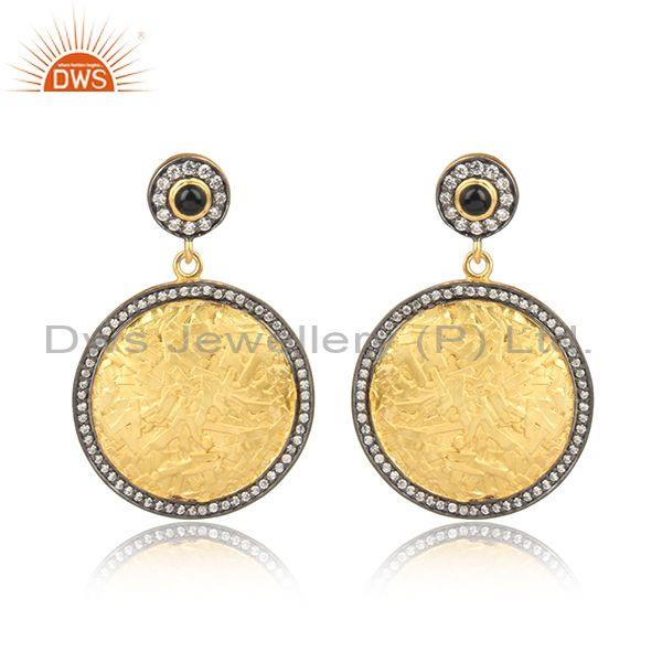 CZ And Black Onyx Gold On 925 Silver Hammered Coin Earrings
