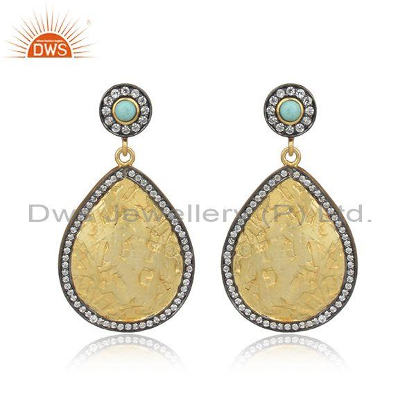 CZ, Arizona Turquoise Set Gold On Silver Tear Drop Earrings