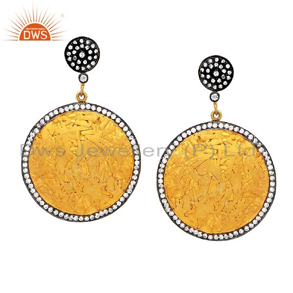24K Gold Plated Sterling Silver Cubic Zirconia Fashion Disc Earrings