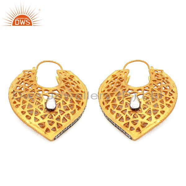 18K Yellow Gold Plated Sterling Silver CZ Polki Filigree Designer Dangle Earring