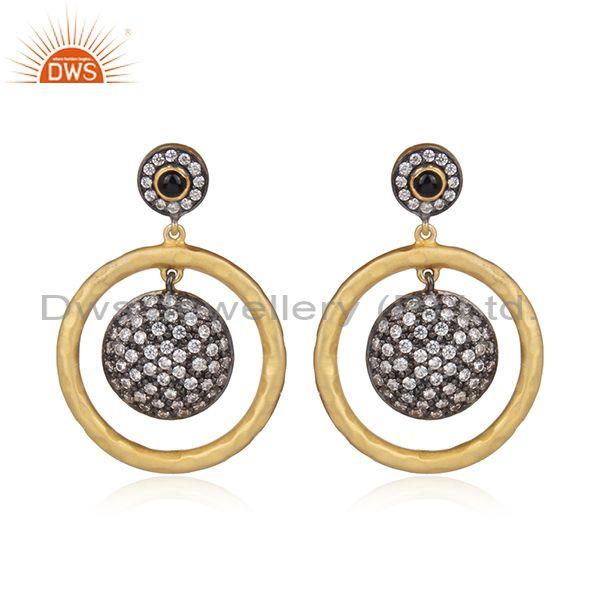 Black Onyx And CZ Set Hand Hammered Gold On Silver Earrings