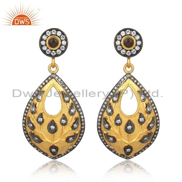 CZ, Smoky Handmade Gold, Black On Silver Designer Earrings
