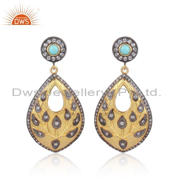 Handmade arizona turquoise cz gold on silver ethnic earring