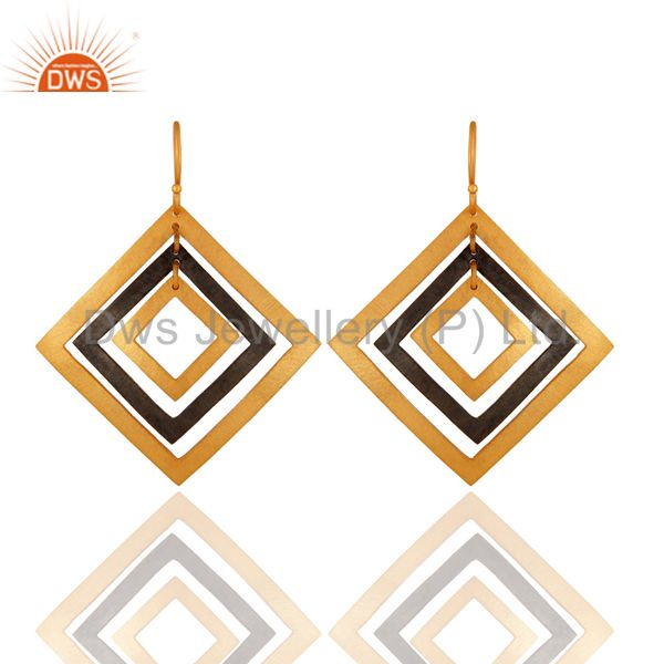 Beautiful Handcrafted 925 Sterling Silver Designer Earrings - 24K Gold Plated